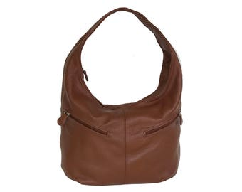 Brown Leather Slouchy Hobo Bag with Pockets, Women Fashion Everyday Purse, Casual Stylish Handmade Handbags and Purses, Aly