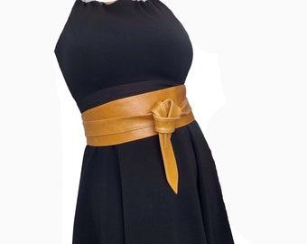 Wrap Leather Obi Belt Unique Wide Belts Tie Belts   Etsy