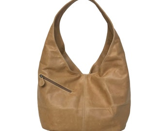 8e61f188a7 Camel Leather Hobo Bag w  Pockets Large Everyday Handbag