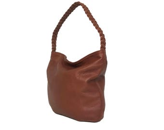 39207aaffa66 Brown Leather Hobo Bag w Braided Handle