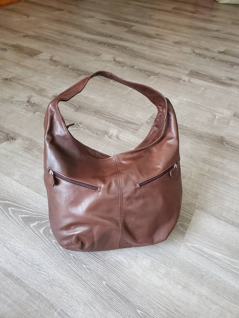 Aly Casual Fashion Bags Brown Leather Hobo Bag w Pockets Everyday Hobos Women Purses Handmade Purses and Bags Stylish Handbags