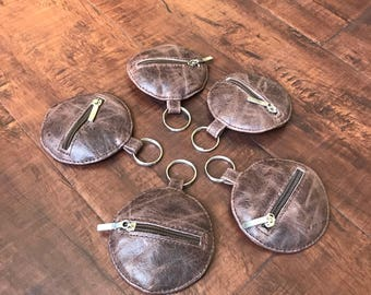 Distressed Leather Keychain, Keychain Holder, Small Pouch, Coin Bag, Leather Pouch, Keychain Pouch, Mini Bags, Coin Pouch, Maria