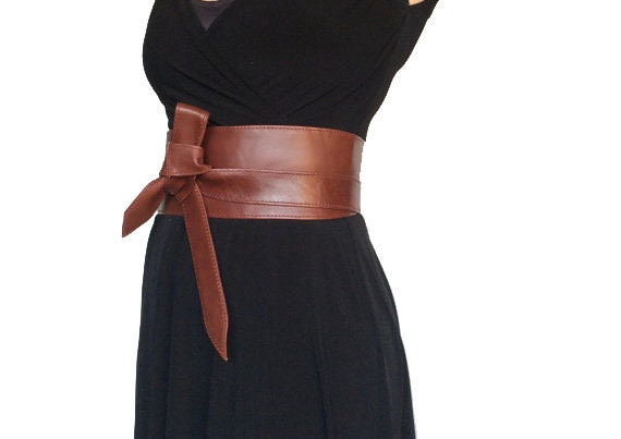 Wrap Leather Obi Belt Unique Wide Belts Tie Belts Fashion Wraparounds Belt in Red Vine Streetstyle