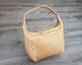 Distressed Leather Hobo Bag, Bohemian Rustic Casual Handbag, Stylish Vintage Handmade Hobo Bags, Rosa