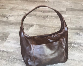 Distressed Brown Leather Hobo Bag, Trendy Fashion Handbag, Stylish Bags, Leather Handmade Purses and Bags, Rosa