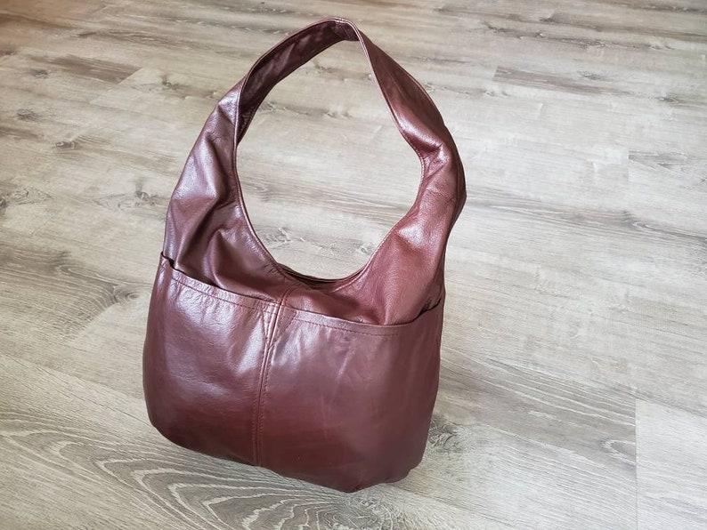Hobos Aly Brown Leather Hobo Bag w Pockets Casual Fashion Bags Stylish Handbags Women Everyday Handmade Purses and Bags