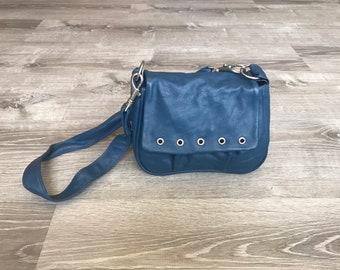 Blue Leather Bag, Crossbody Fashion Women Handbag, Small Shoulder Handbag, Unique Purse, Sury