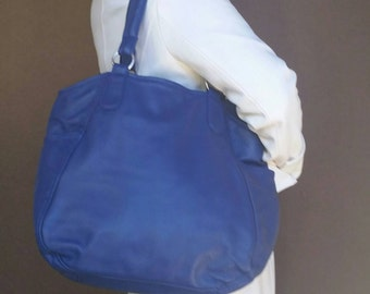 Blue Tote Bag, Leather Handbag, Large Leather Bag, Bags and Purses, Women Purse, Totes, Handbags, Leather Tote Bag, Lily