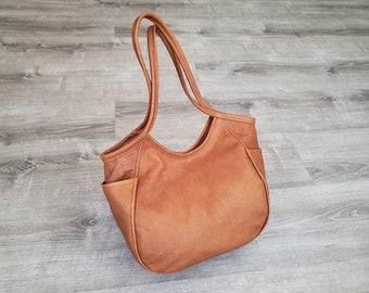 Brown Leather Hobo Bag with Pockets, Fashion and Casual Purse , Everyday Shoulder Handbag, Handmade Handbags and Purses, Amelia