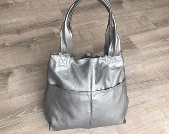 Silver Leather Bag, Fashion and Trendy Women Handmade Purses and Bags, Totes, Cloe
