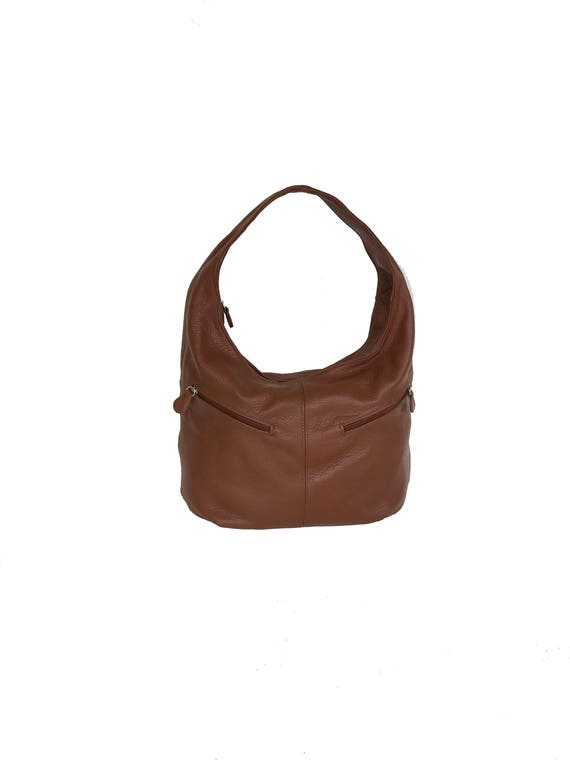 f7e609591670 Brown Leather Slouchy Hobo Bag with Pockets Women Fashion