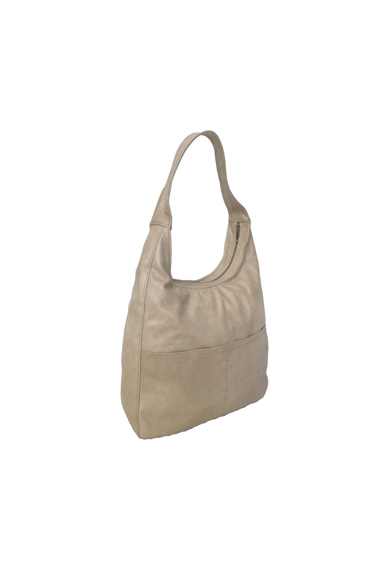 aaeff3910e Beige Leather Hobo Bag Fashion Woman Handbag Casual Leather