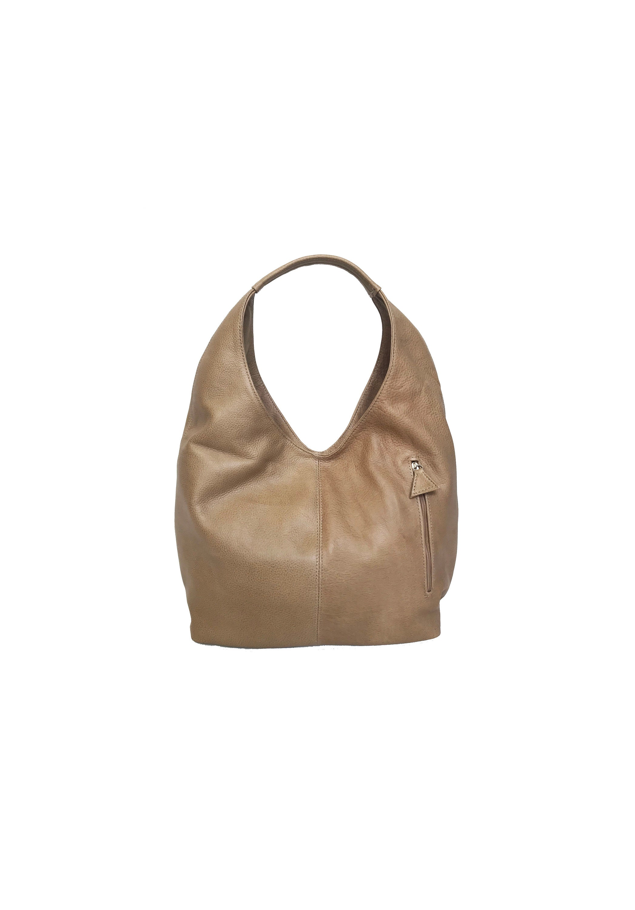 619e6f6e7eb0 Camel Leather Hobo Bag w  Pockets Large Everyday Handbag