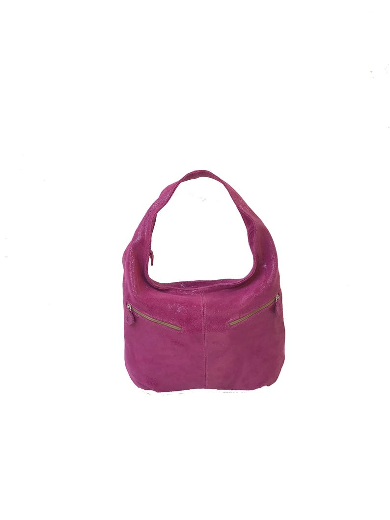 05d5084ede8b Slouchy Hobo Bag, Pink Suede Leather Purse with Pockets, Women Fashion  Handbags, Everyday Stylish Bags, Handmade Purses and Bags, Aly