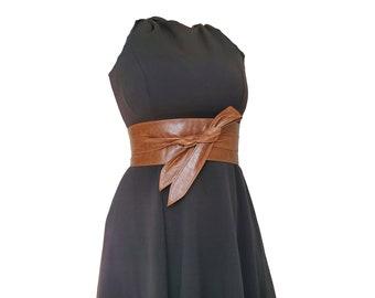 Distressed Brown Leather Obi Belt, Wrap Wide Fashion Belts, Women Belt, Stylish Belts, Dean
