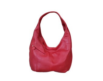 Red Leather Bag, Women Fashion and Casual Hobo Handbags, Everyday Purse, Alicia