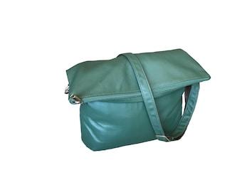 Green Leather Bag, Cross Body Bag, Handmade Leather Bags, Fold Over Bag, Fashion Purse, Trendy Bag, Flat Bags, Green Purse, Julia