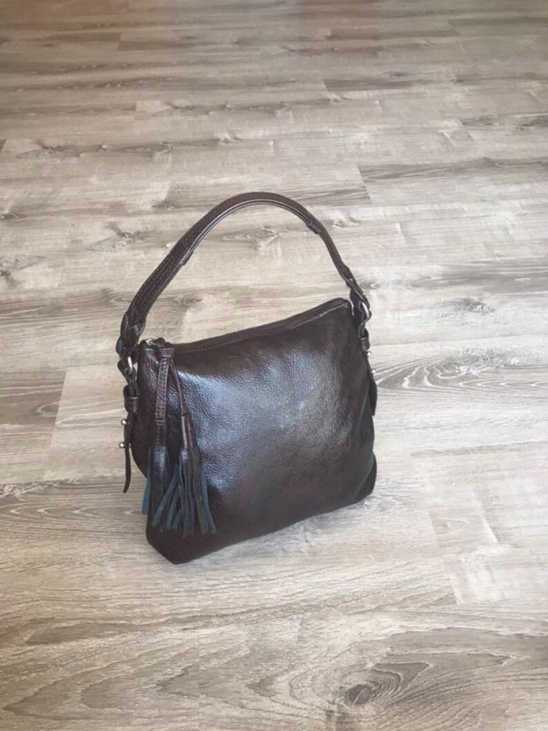 0220b31dde Wash Leather Handbag with Tassel Casual Bag Rustic Leather | Etsy