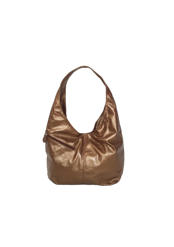 2fbd593b8d Slouchy Leather Hobo Bag w  Pockets Bronze Trendy Bag