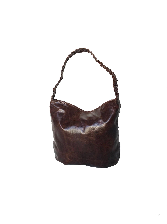 0f5d23b9cb4e4 Distressed Oil Leather Hobo Bag w Braided Handle, Bohemian Shoulder  Handbag, Rustic Bags, Fashion Purses, Purses and Bags, Claudia
