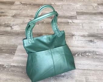 Green Leather Bag, Everyday Shoulder Handbag, Women Totes, Casual Handmade Handbags and Purses, Cloe