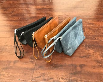 Leather Clutch Bag with Wrist Strap, Fashion Purse, Small Leather Bag, Leather Pouch, Leather Clutch, Handmade Handbags, Comet