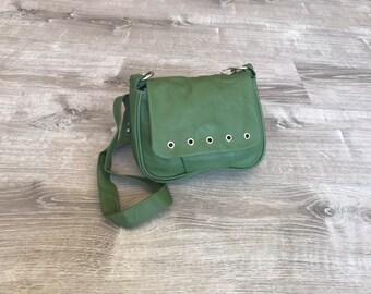 Green Leather Bag, Fashion Everyday Cross-body Purse, Trendy Everyday Handbag, Sury