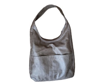 Gray Leather Hobo Bag, Casual Everyday Leather Purse, Women Handbags, Handmade Purses and Bags, Trendy Ideas, Hobos, Cocoon