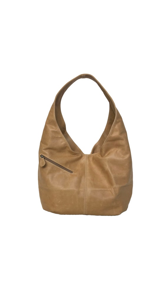 6f26e04caf89 Distressed Leather Hobo Bag w Pockets Camel Brown Hobo Purse