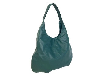 Green Leather Bag, Large Hobo Bag Purse, Leather Hobo Bag, Fashion Bags, Handmade Bags and Purses, Woman Bag, Everyday Leather Purse, MC