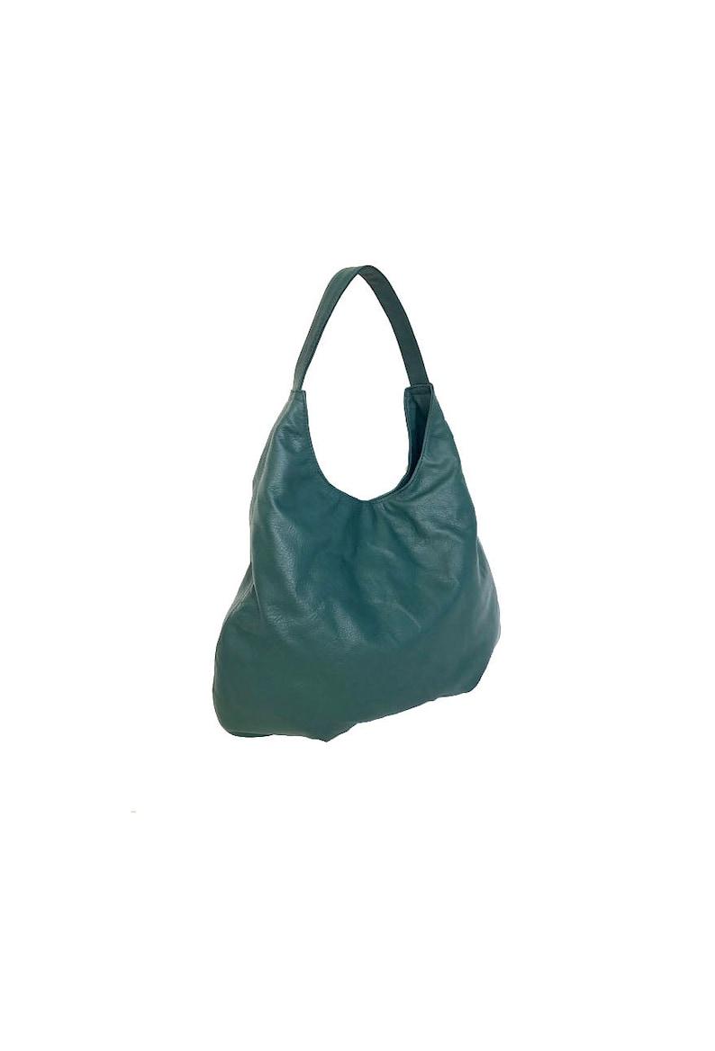 37b377f4d3 Green Leather Bag Large Hobo Bag Purse Leather Hobo Bag