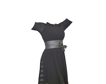Gray Leather Obi Belt, Wide Belt, Women Belts, Leather Belts, Sash Belt, Belt, Handmade Belt, Ties Belts, Wrap Leather Belt, Gift, Dean