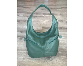 Green Leather Bag, Slouchy Hobo Leather Handbag with Pockets, Casual Purse, Fashion Bags, Handmade Bags and Purses, Handbags, Aly