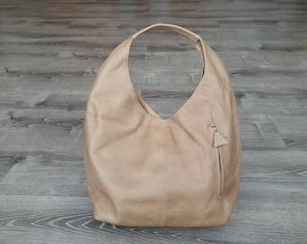 Camel Leather Hobo Bag w/ Pockets, Large Everyday Handbag, Casual Women Purses, Handmade Handbags and Purses, Alexa