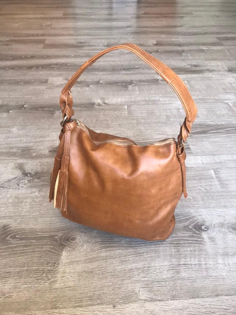 2e572cabec973 Brown Leather Bag with Tassel, Women Purses, Everyday Bag, Shoulder  Handbag, Retro Handbags, Handmade Bags and Purses, Purse, Annabelle