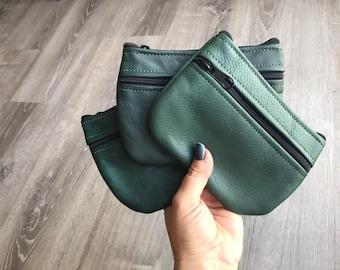 Retro Leather Coin Bag, Mini Green Pouch, Small Cosmetic Purse, Zipper Pouch, Martha