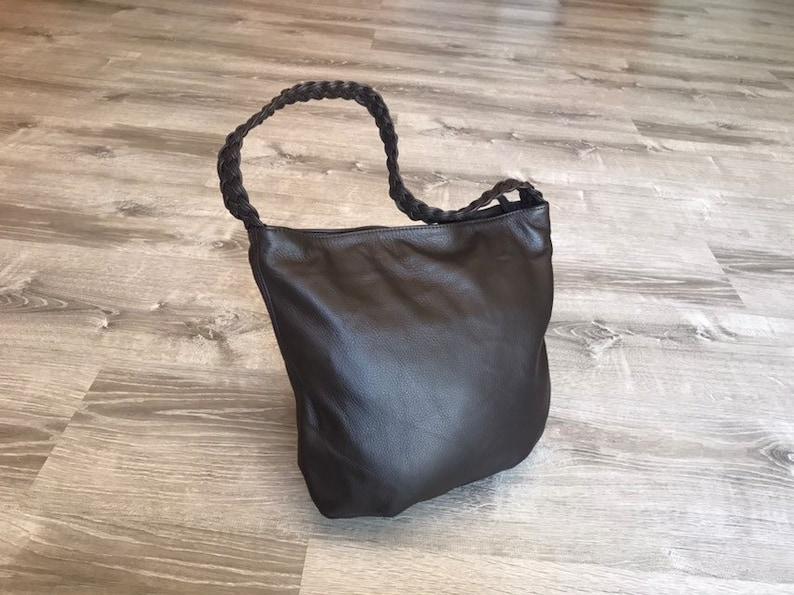 ee5ba006b6769 Brown Leather Hobo Bag w Braided Handle, Casual Purse, Everyday Shoulder  Handbag, Fashion Handbags, Trendy Soft Leather Purse, Claudia