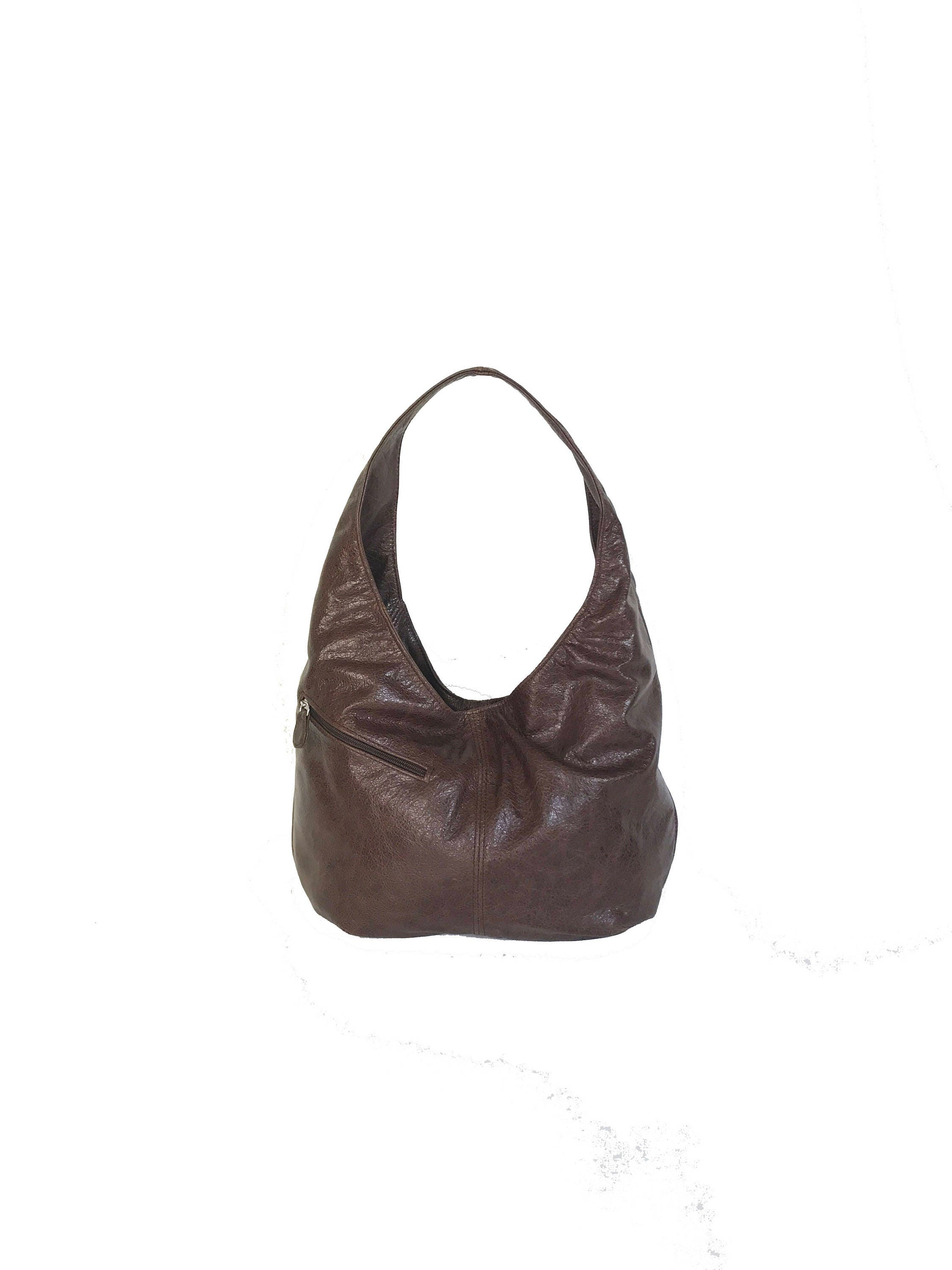 f20008f27c Distressed Brown Leather Hobo Bag with Pockets Fashion Women