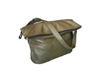 Fold over Leather Bag, Everyday Cross body Purse, Fashion Women Bags, Stylish Shoulder Handbag, Julia