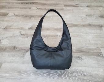 Black Leather Bag, Classic Casual Hobo Bags for Women, Handmade Purses and Handbags, Alyna