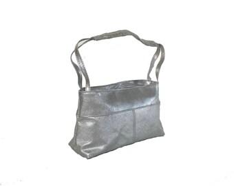 Silver Leather Bag, Women Handbags, Unique Fashion Purse, Everyday Shoulder Handbag, Handmade Purses and Bags, Ivanna