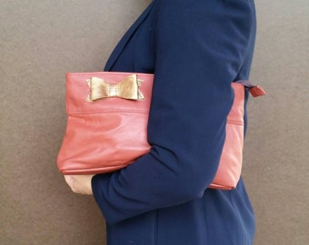 Leather Clutch Bag with Bow in Two Tones, Ivanka