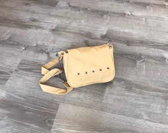 Cream Beige Leather Bag, Trendy Women Bags, Everyday Purse, Fashion Handbag, Crossbody, Sury