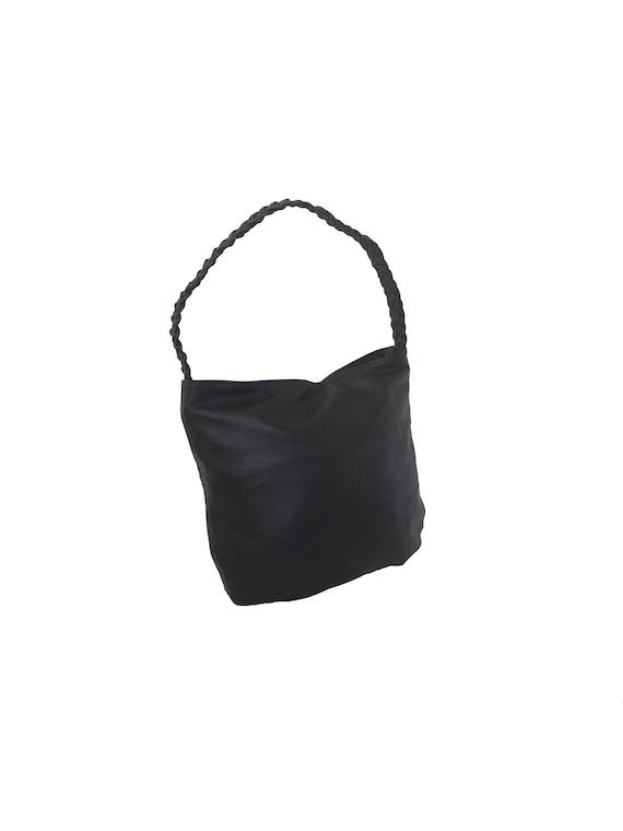 392977eba5e1 Brown Leather Hobo Bag w Braided Handle Casual Purse