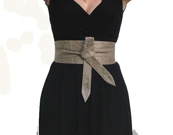 8545a0606 Distressed Leather Obi Belt Wide Wrap Tie Urban Belt