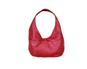 Red Leather Bag, Everyday Casual Women Hobo Handbags, Trendy Gift, Alyna