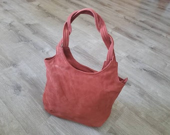 Suede Leather Bag, Soft Unique Shoulder Bags, Handmade Handbags and Purses, Casual Coral Bags, Bony