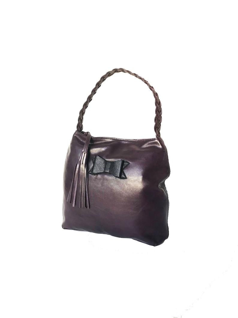 8b917cabaf33 Purple Leather Hobo Bag Boho Chic Purse with Tassel Bohemian