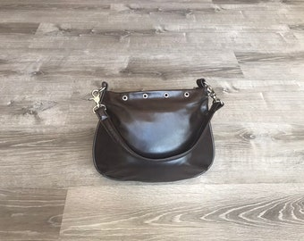 Flat Purse, Brown Leather Bag, Small Hobo Bag, Fashion Bags, Retro Handbags, Shoulder Bag Purse, Unique Handbags, Trendy Bag, Becky