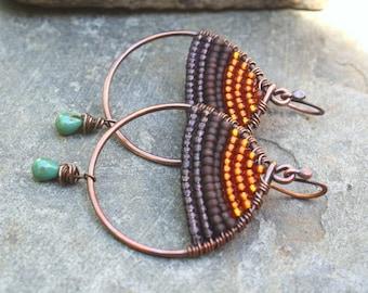Purple Sunset Boho Earrings Woven Copper Teardrop Seed Bead Earrings Boho Jewelry Oxidized Copper Wire Jewelry Colorful Earrings